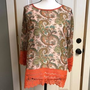 Coral paisley blouse